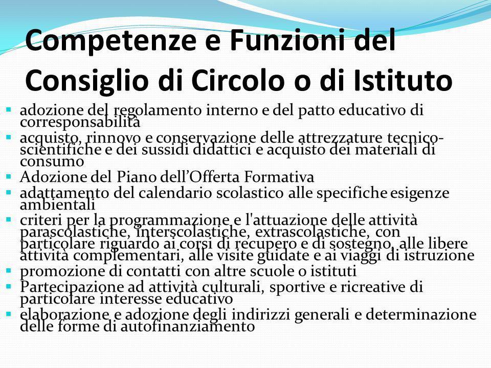 Competenze e Funzioni del Consiglio di Circolo o di Istituto adozione del regolamento interno e del patto educativo di corresponsabilità acquisto, rin