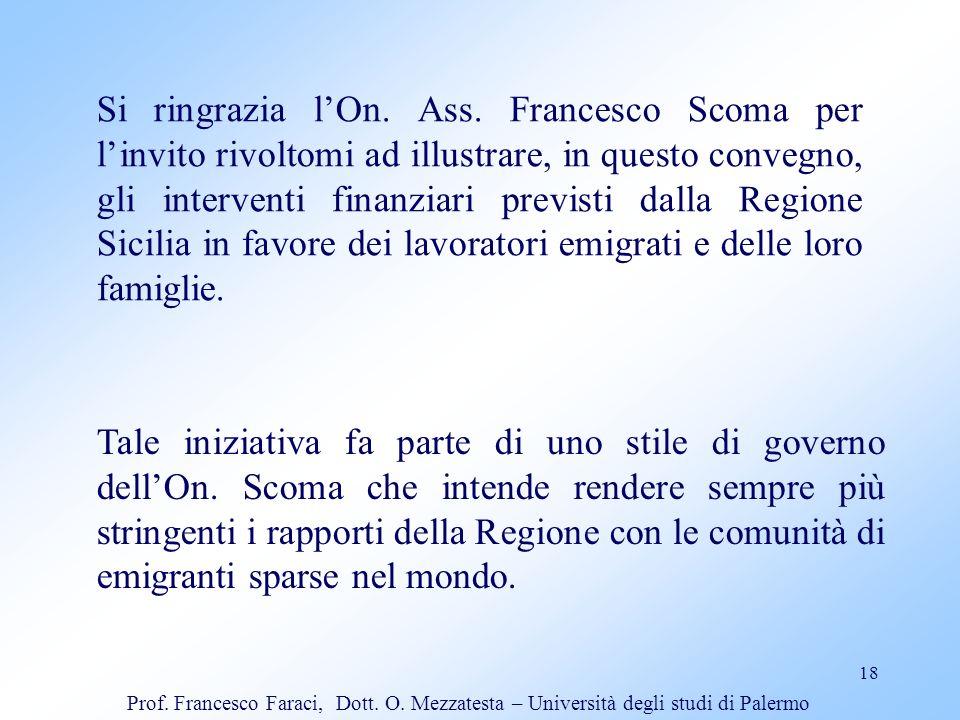 18 Si ringrazia lOn. Ass. Francesco Scoma per linvito rivoltomi ad illustrare, in questo convegno, gli interventi finanziari previsti dalla Regione Si