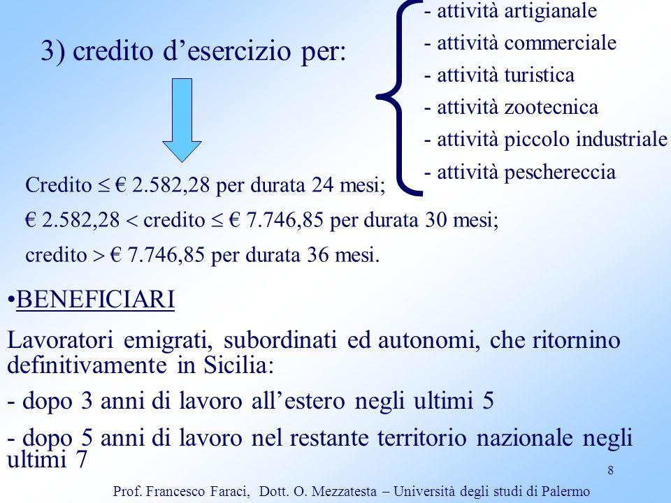 8 3) credito desercizio per: - attività artigianale - attività commerciale - attività turistica - attività zootecnica - attività piccolo industriale -