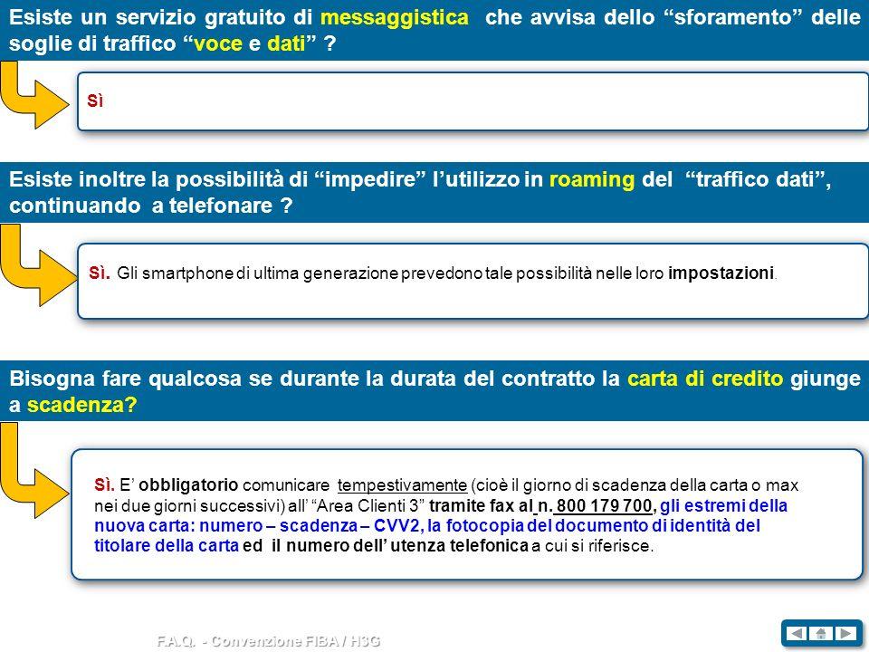 F.A.Q. - Convenzione FIBA / H3G Esiste un servizio gratuito di messaggistica che avvisa dello sforamento delle soglie di traffico voce e dati ? Sì Esi