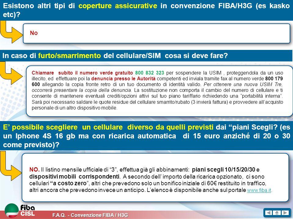 F.A.Q. - Convenzione FIBA / H3G Esistono altri tipi di coperture assicurative in convenzione FIBA/H3G (es kasko etc)? No In caso di furto/smarrimento