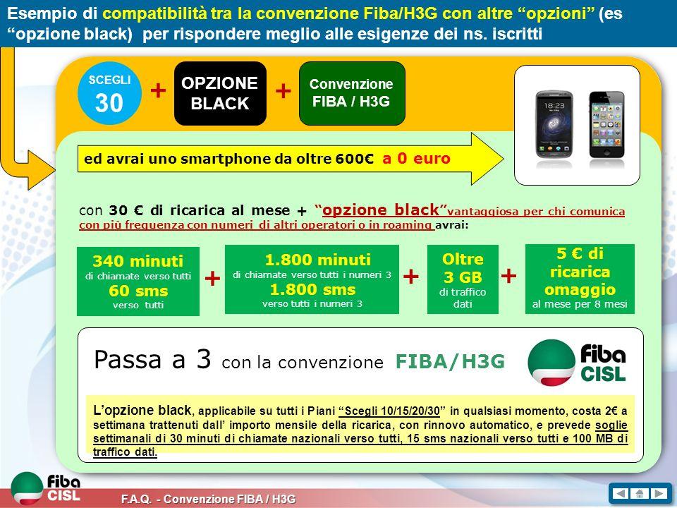 F.A.Q. - Convenzione FIBA / H3G Esempio di compatibilità tra la convenzione Fiba/H3G con altre opzioni (es opzione black) per rispondere meglio alle e