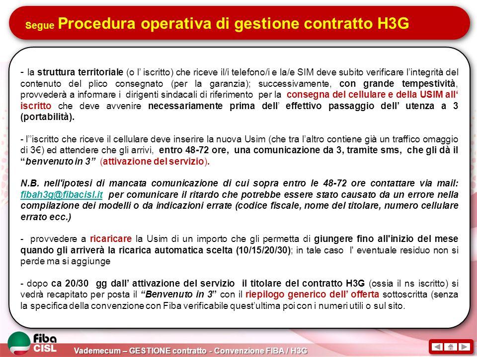 Vademecum – GESTIONE contratto - Convenzione FIBA / H3G Segue Procedura operativa di gestione contratto H3G - la struttura territoriale (o l iscritto)