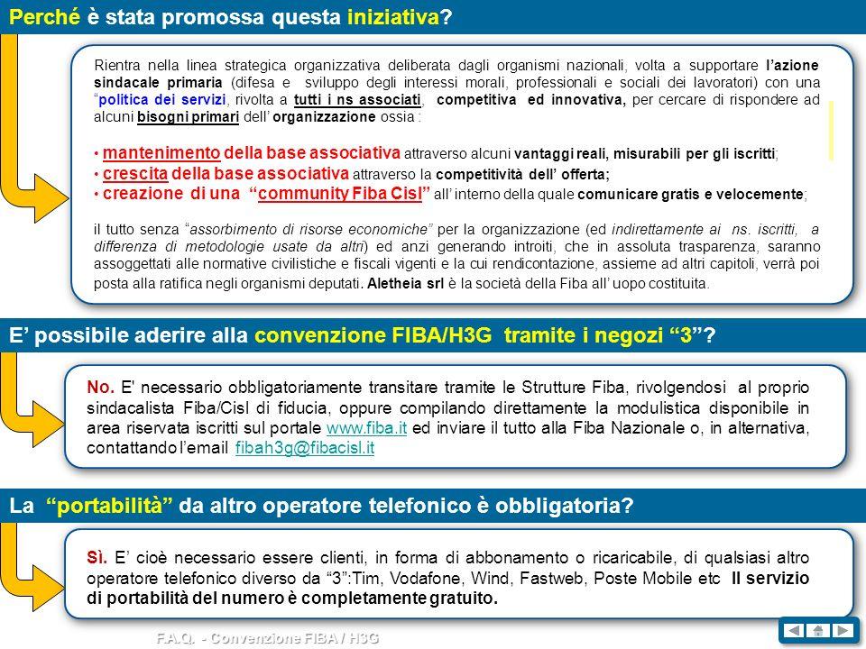 F.A.Q. - Convenzione FIBA / H3G Perché è stata promossa questa iniziativa? Rientra nella linea strategica organizzativa deliberata dagli organismi naz