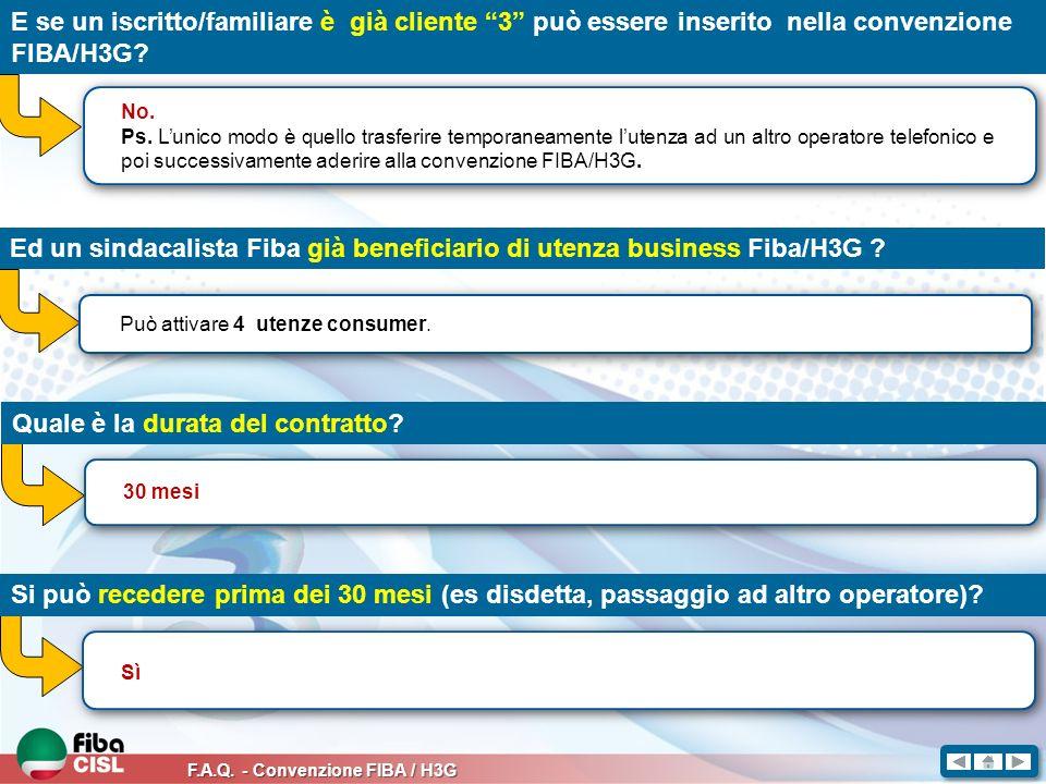 F.A.Q.- Convenzione FIBA / H3G In caso di recesso prima dei 30 mesi, ci sono penali da pagare.