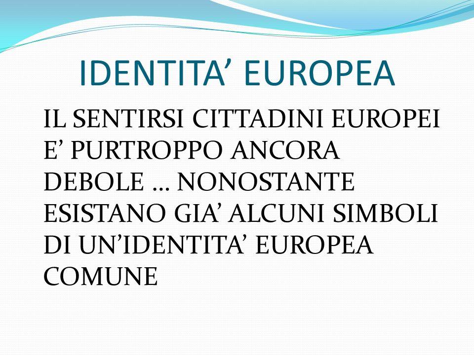 IDENTITA EUROPEA IL SENTIRSI CITTADINI EUROPEI E PURTROPPO ANCORA DEBOLE … NONOSTANTE ESISTANO GIA ALCUNI SIMBOLI DI UNIDENTITA EUROPEA COMUNE