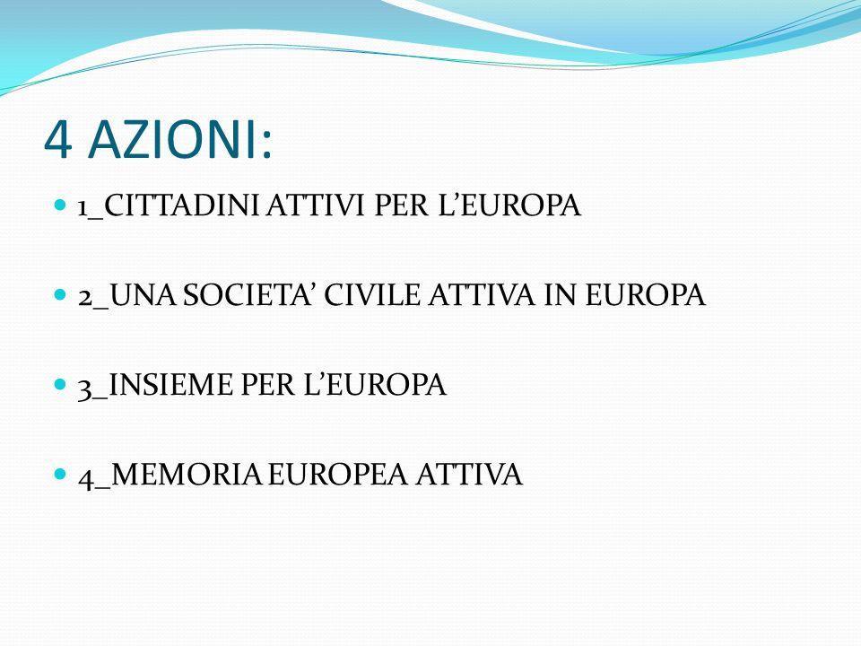 4 AZIONI: 1_CITTADINI ATTIVI PER LEUROPA 2_UNA SOCIETA CIVILE ATTIVA IN EUROPA 3_INSIEME PER LEUROPA 4_MEMORIA EUROPEA ATTIVA