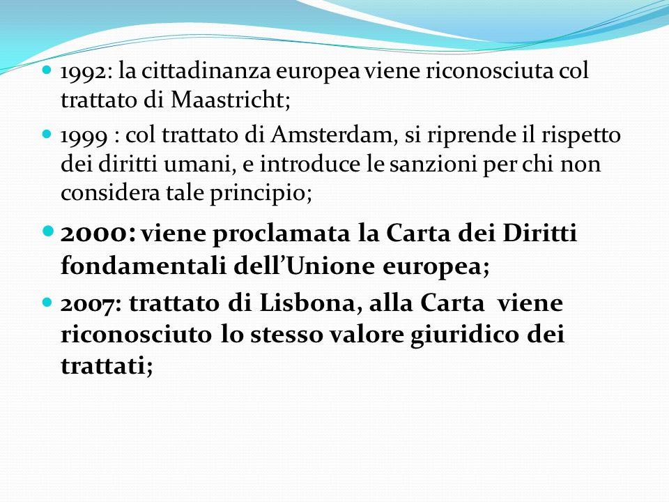 1992: la cittadinanza europea viene riconosciuta col trattato di Maastricht; 1999 : col trattato di Amsterdam, si riprende il rispetto dei diritti uma