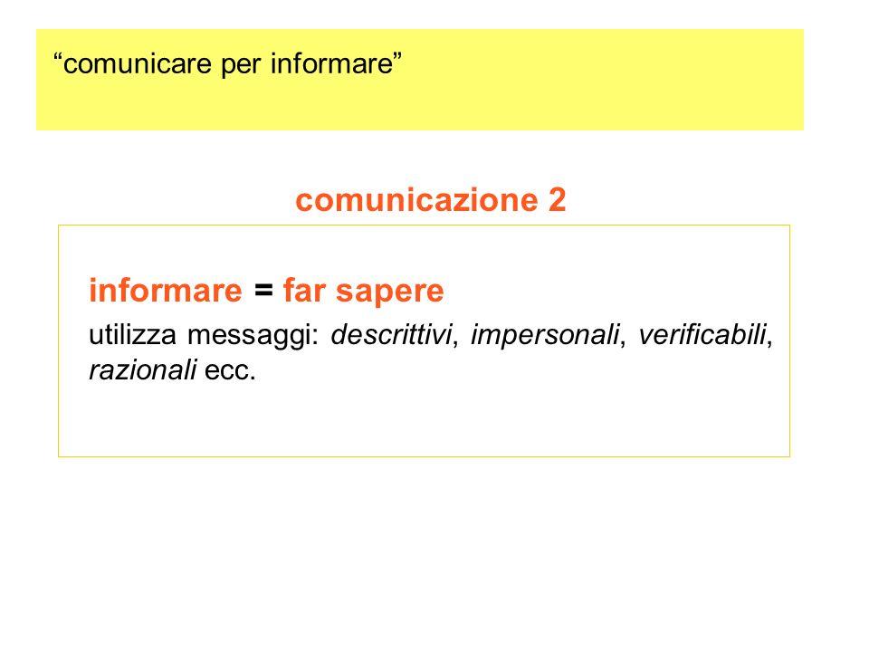 comunicare per informare comunicazione 2 informare = far sapere utilizza messaggi: descrittivi, impersonali, verificabili, razionali ecc.