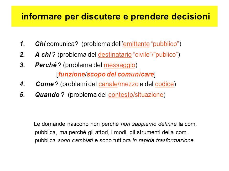 1.Chi comunica. (problema dellemittente pubblico) 2.A chi .