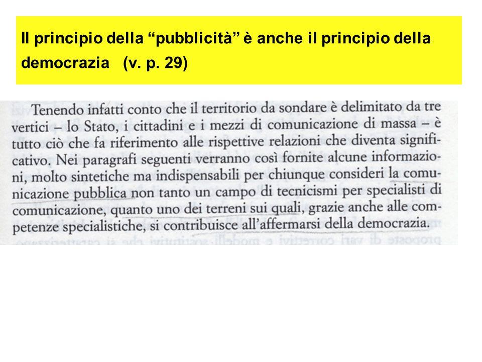 Il principio della pubblicità è anche il principio della democrazia (v. p. 29)