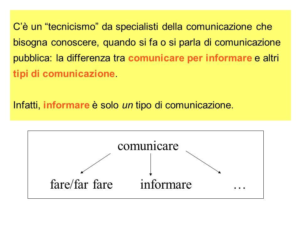 Cè un tecnicismo da specialisti della comunicazione che bisogna conoscere, quando si fa o si parla di comunicazione pubblica: la differenza tra comunicare per informare e altri tipi di comunicazione.