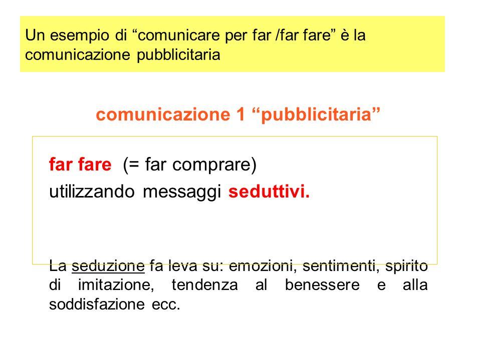 Un esempio di comunicare per far /far fare è la comunicazione pubblicitaria comunicazione 1 pubblicitaria far fare (= far comprare) utilizzando messaggi seduttivi.