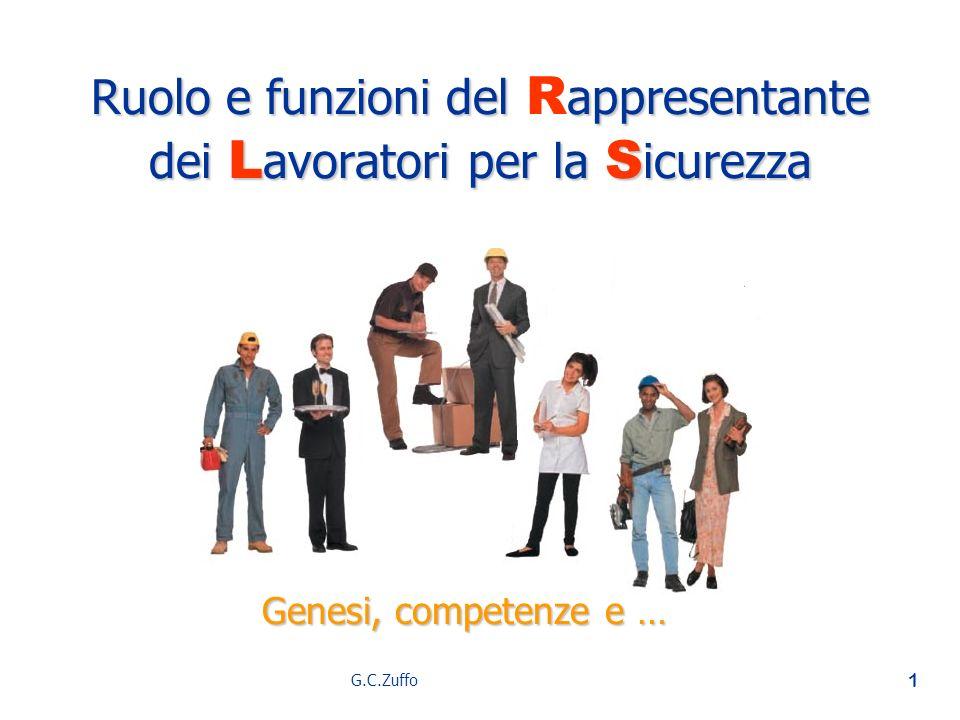G.C.Zuffo 1 Ruolo e funzioni del appresentante dei L avoratori per la S icurezza Ruolo e funzioni del R appresentante dei L avoratori per la S icurezz