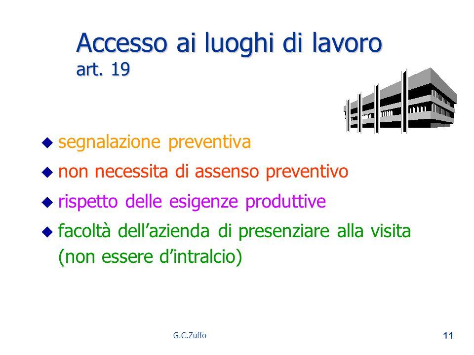 G.C.Zuffo 11 Accesso ai luoghi di lavoro art. 19 u u segnalazione preventiva u u non necessita di assenso preventivo u u rispetto delle esigenze produ