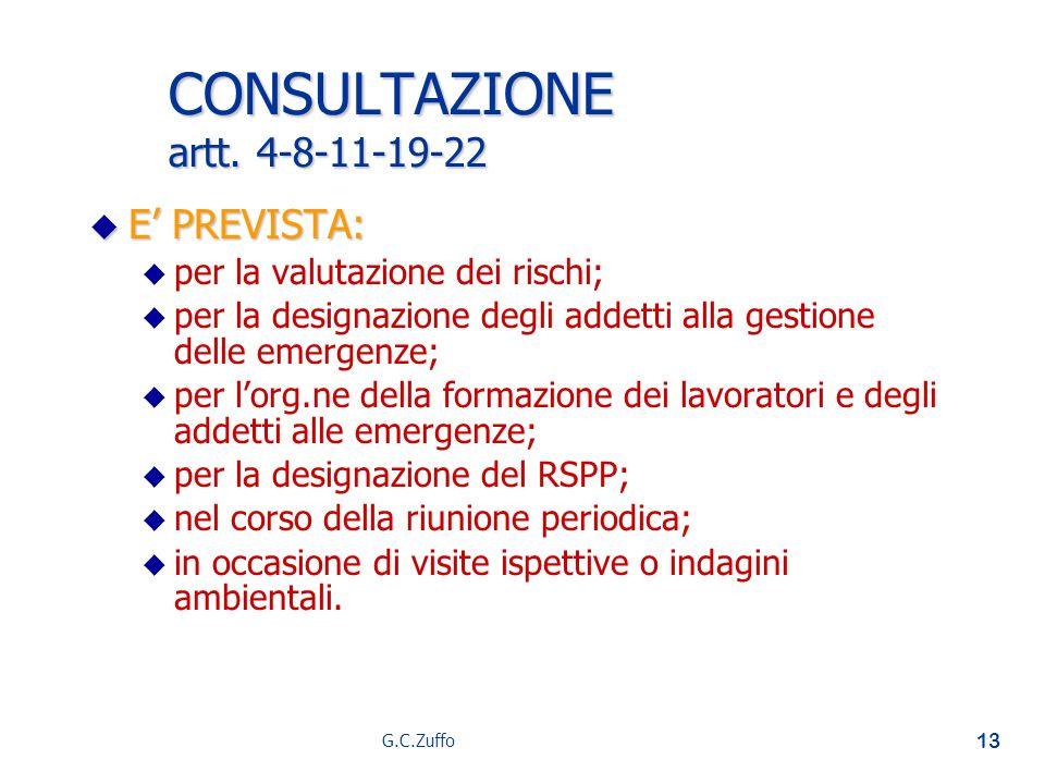 G.C.Zuffo 13 CONSULTAZIONE artt. 4-8-11-19-22 u E PREVISTA: u u per la valutazione dei rischi; u u per la designazione degli addetti alla gestione del