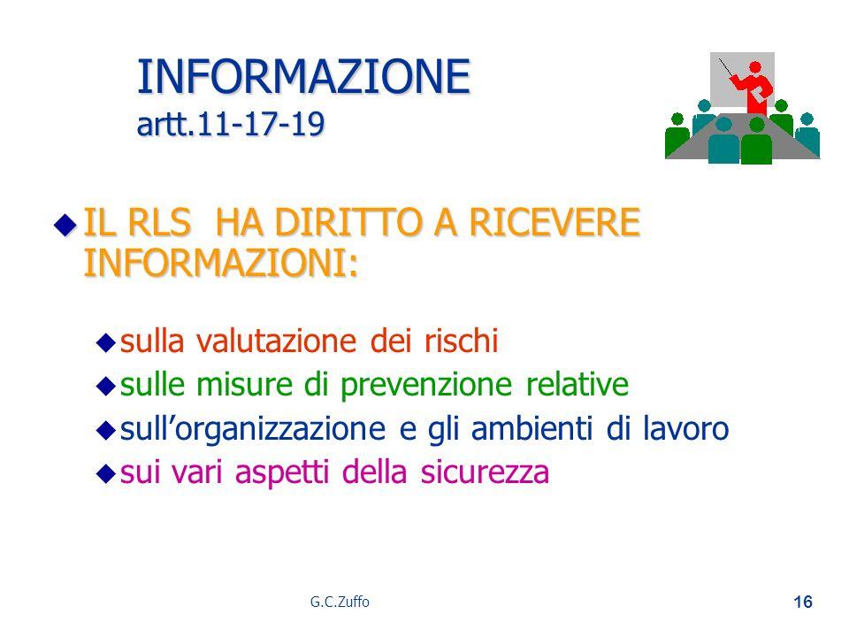 G.C.Zuffo 16 INFORMAZIONE artt.11-17-19 u IL RLS HA DIRITTO A RICEVERE INFORMAZIONI: u u sulla valutazione dei rischi u u sulle misure di prevenzione