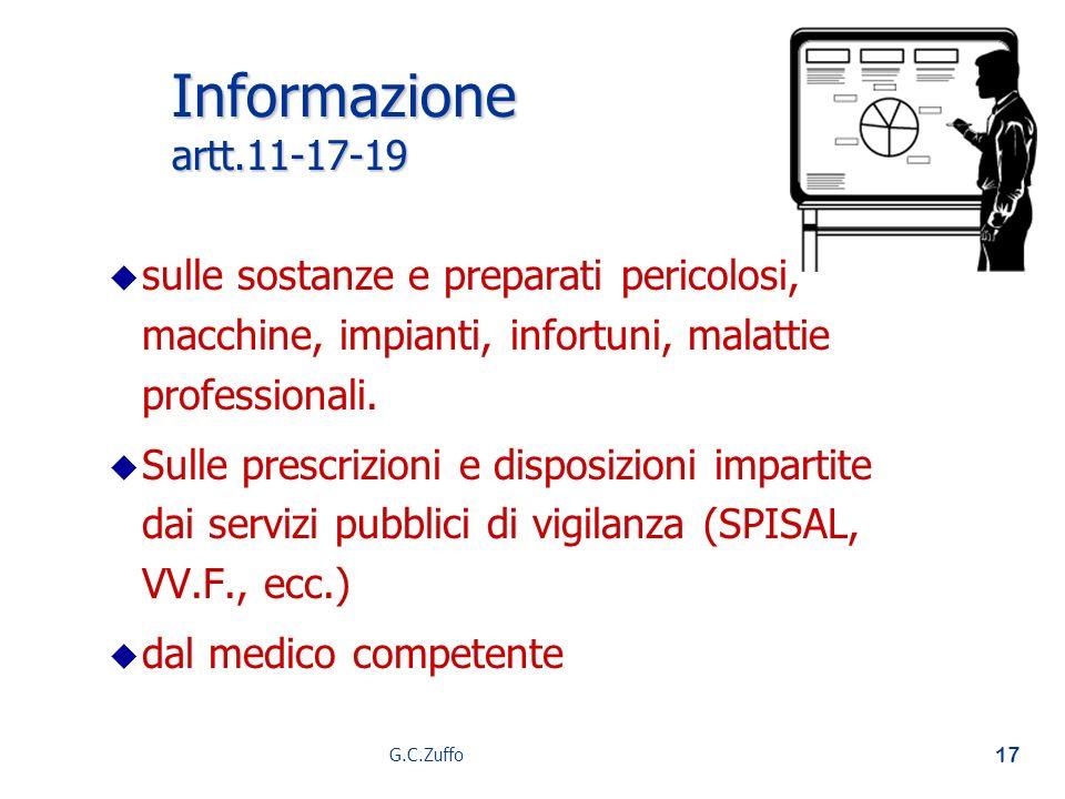 G.C.Zuffo 17 Informazione artt.11-17-19 u u sulle sostanze e preparati pericolosi, macchine, impianti, infortuni, malattie professionali. u u Sulle pr