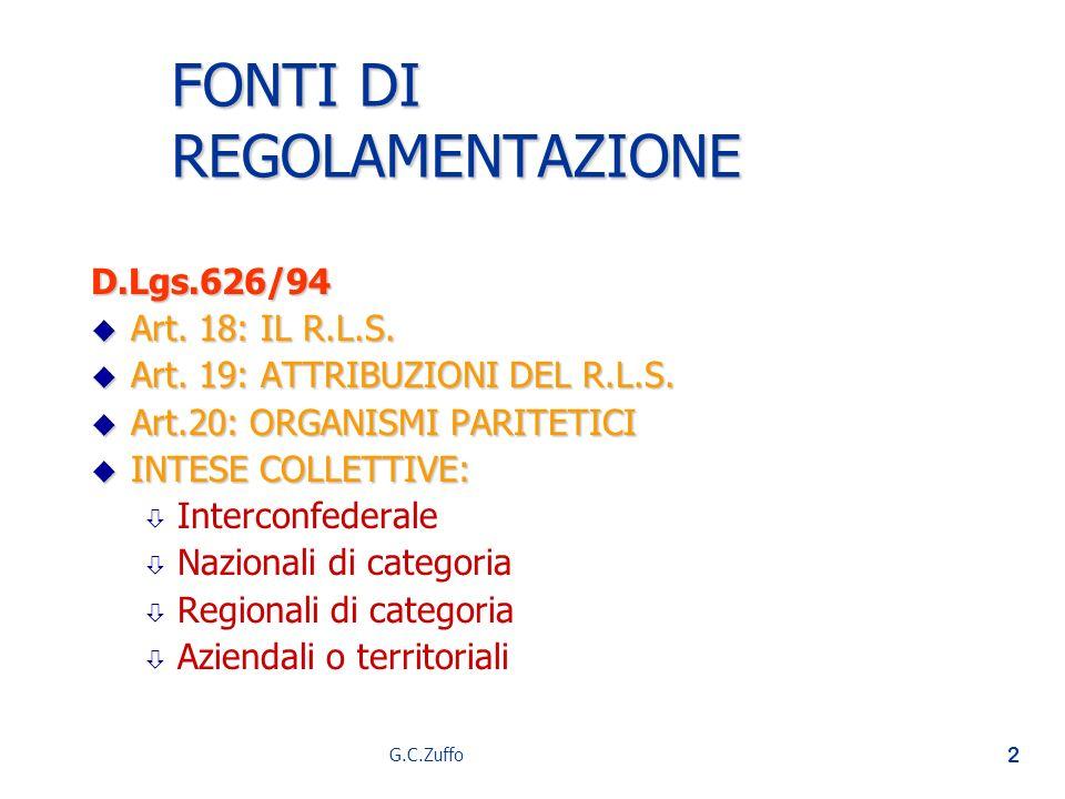 G.C.Zuffo 2 FONTI DI REGOLAMENTAZIONE D.Lgs.626/94 u Art. 18: IL R.L.S. u Art. 19: ATTRIBUZIONI DEL R.L.S. u Art.20: ORGANISMI PARITETICI u INTESE COL