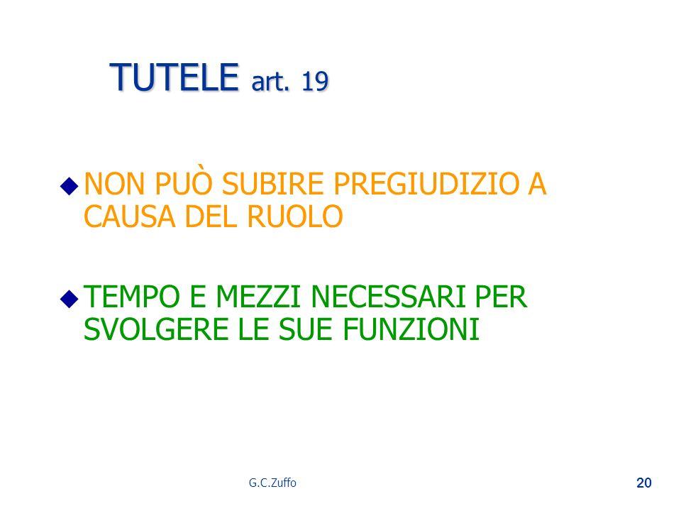 G.C.Zuffo 20 TUTELE art. 19 u u NON PUÒ SUBIRE PREGIUDIZIO A CAUSA DEL RUOLO u u TEMPO E MEZZI NECESSARI PER SVOLGERE LE SUE FUNZIONI