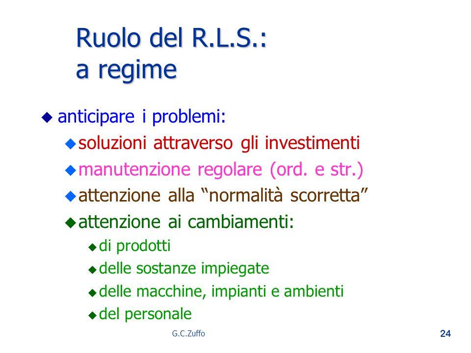 G.C.Zuffo 24 Ruolo del R.L.S.: a regime u u anticipare i problemi: u u soluzioni attraverso gli investimenti u u manutenzione regolare (ord. e str.) u