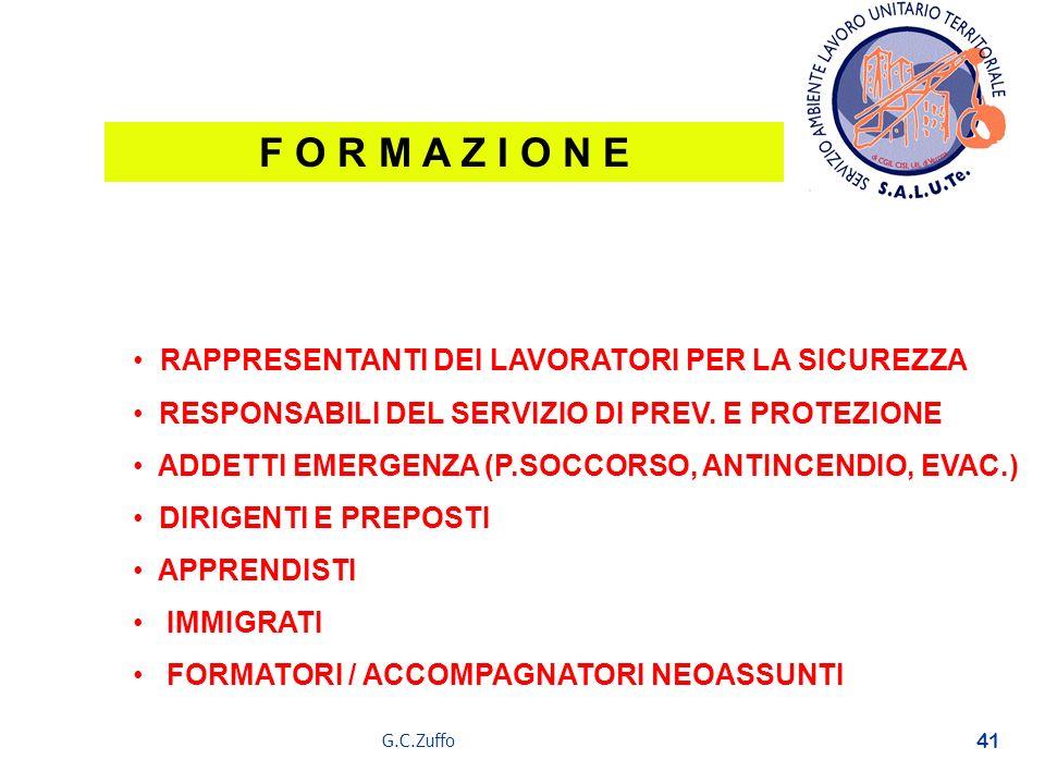 G.C.Zuffo 41 F O R M A Z I O N E RAPPRESENTANTI DEI LAVORATORI PER LA SICUREZZA RESPONSABILI DEL SERVIZIO DI PREV. E PROTEZIONE ADDETTI EMERGENZA (P.S