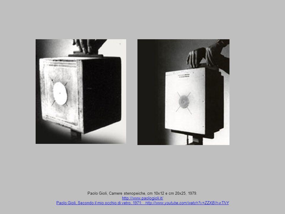 Paolo Gioli, Camere stenopeiche, cm 10x12 e cm 20x25, 1979. http://www.paologioli.it/ Paolo Gioli, Secondo il mio occhio di vetro, 1971: http://www.yo