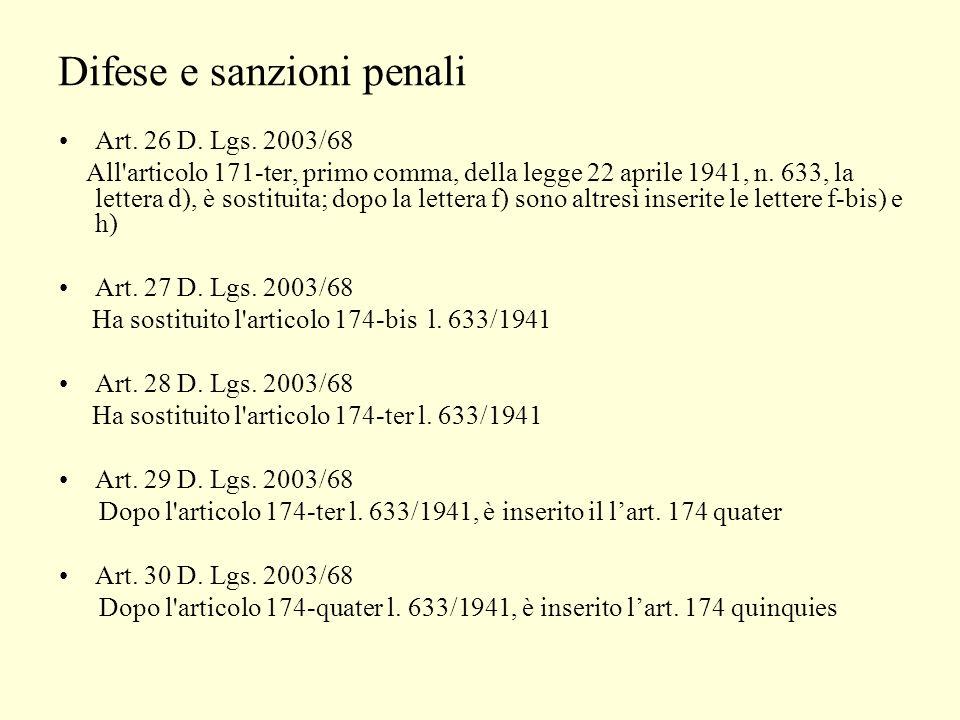 Difese e sanzioni penali Art. 26 D. Lgs.