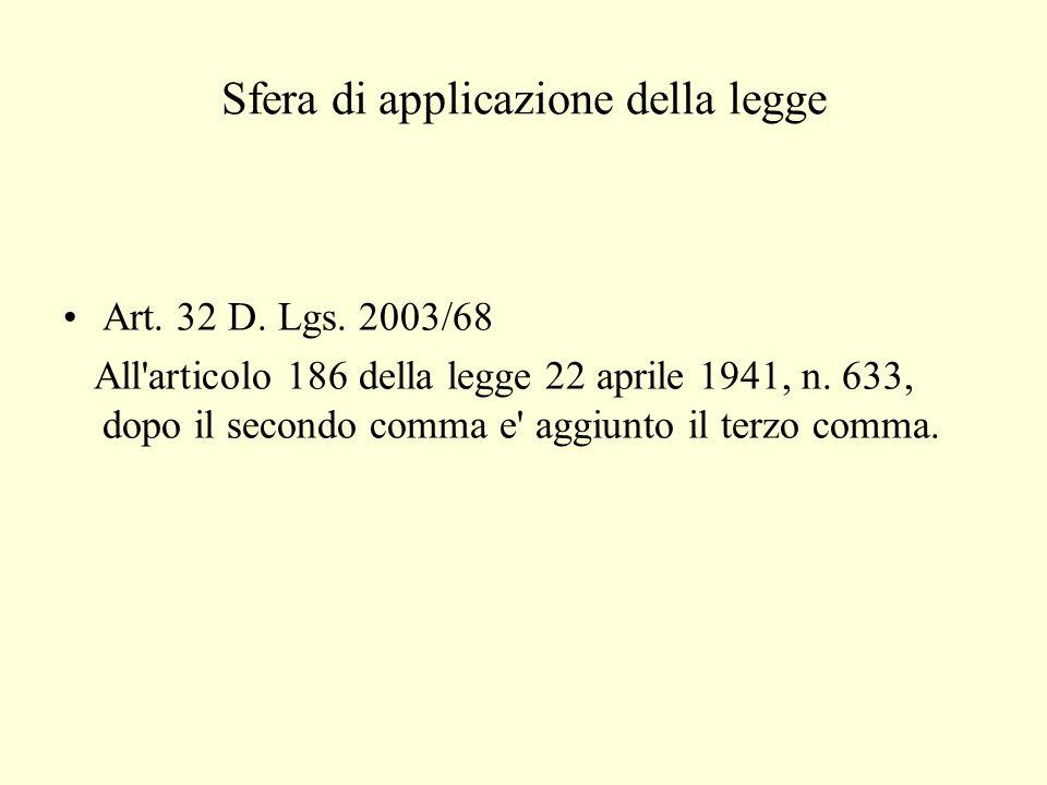 Sfera di applicazione della legge Art. 32 D. Lgs.