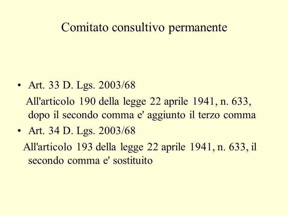 Comitato consultivo permanente Art. 33 D. Lgs.