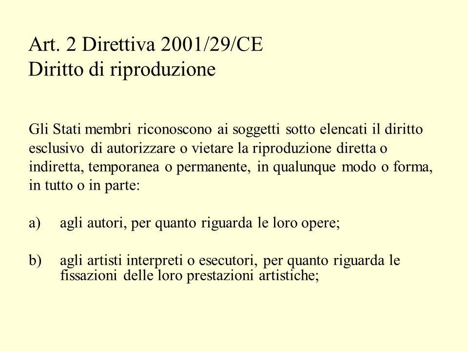 Art. 2 Direttiva 2001/29/CE Diritto di riproduzione Gli Stati membri riconoscono ai soggetti sotto elencati il diritto esclusivo di autorizzare o viet
