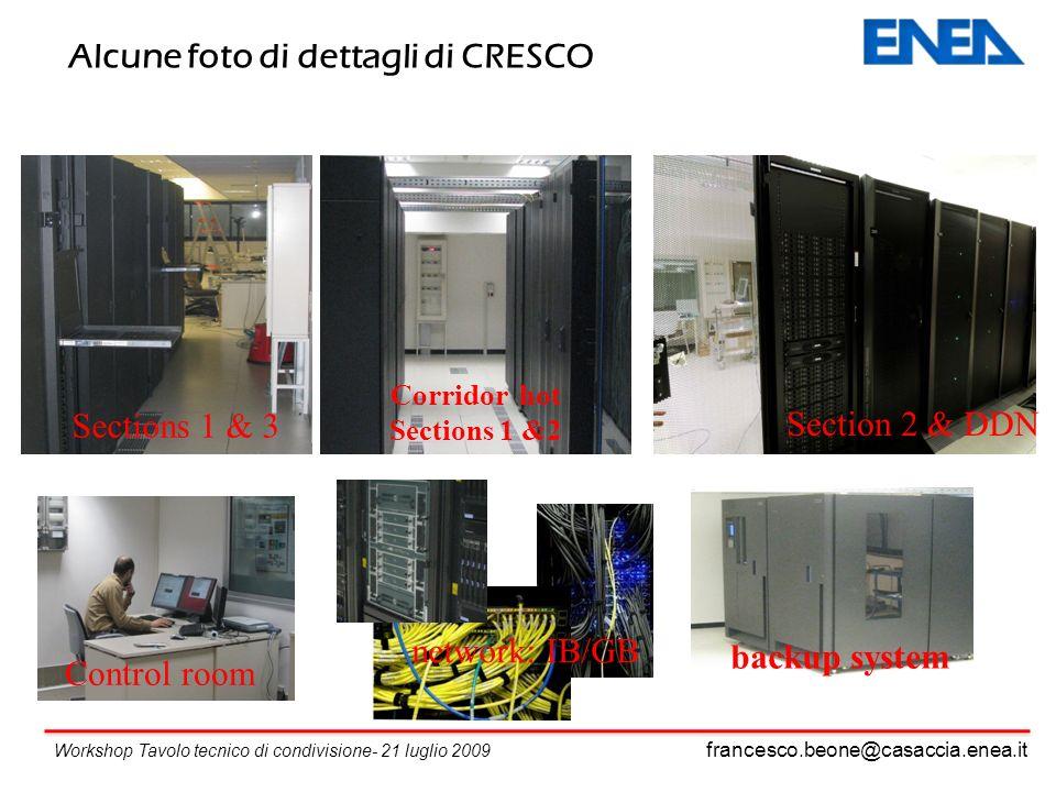 francesco.beone@casaccia.enea.it Workshop Tavolo tecnico di condivisione- 21 luglio 2009 Alcune foto di dettagli di CRESCO Sections 1 & 3 Section 2 & DDN Control room backup system network: IB/GB Corridor hot Sections 1 &2
