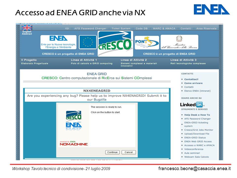 francesco.beone@casaccia.enea.it Workshop Tavolo tecnico di condivisione- 21 luglio 2009 Accesso ad ENEA GRID anche via NX
