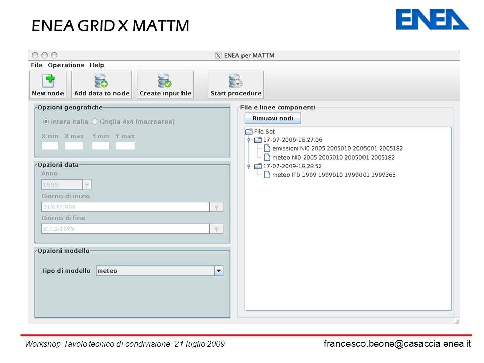 francesco.beone@casaccia.enea.it Workshop Tavolo tecnico di condivisione- 21 luglio 2009 ENEA GRID X MATTM