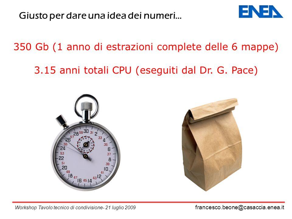 francesco.beone@casaccia.enea.it Workshop Tavolo tecnico di condivisione- 21 luglio 2009 350 Gb (1 anno di estrazioni complete delle 6 mappe) 3.15 anni totali CPU (eseguiti dal Dr.