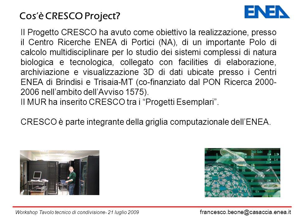 francesco.beone@casaccia.enea.it Workshop Tavolo tecnico di condivisione- 21 luglio 2009 Il Progetto CRESCO ha avuto come obiettivo la realizzazione, presso il Centro Ricerche ENEA di Portici (NA), di un importante Polo di calcolo multidisciplinare per lo studio dei sistemi complessi di natura biologica e tecnologica, collegato con facilities di elaborazione, archiviazione e visualizzazione 3D di dati ubicate presso i Centri ENEA di Brindisi e Trisaia-MT (co-finanziato dal PON Ricerca 2000- 2006 nellambito dellAvviso 1575).