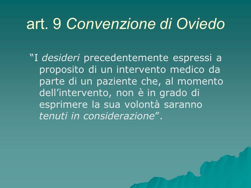 art. 9 Convenzione di Oviedo I desideri precedentemente espressi a proposito di un intervento medico da parte di un paziente che, al momento dellinter