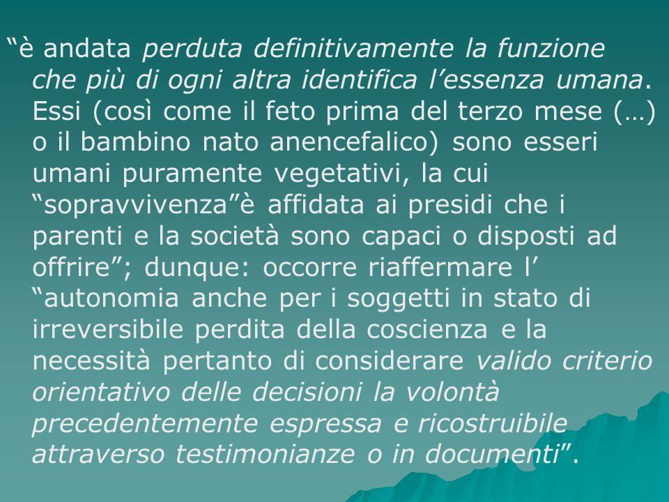 Comitato Nazionale per la Bioetica interviene sullargomento con un elaborato parere del 18 dicembre 2003, intitolato: Dichiarazioni anticipate di trattamento.