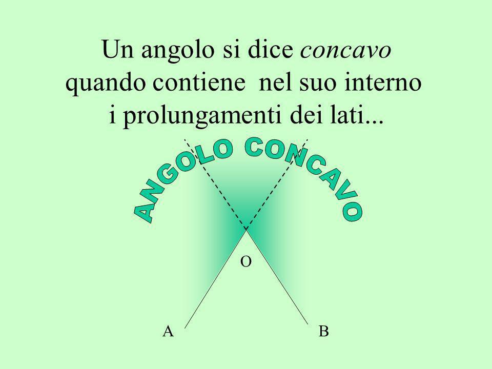 Un angolo si dice concavo quando contiene nel suo interno i prolungamenti dei lati... AB O