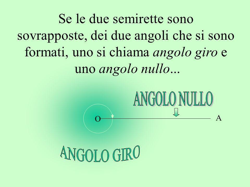 A Se le due semirette sono sovrapposte, dei due angoli che si sono formati, uno si chiama angolo giro e uno angolo nullo... O
