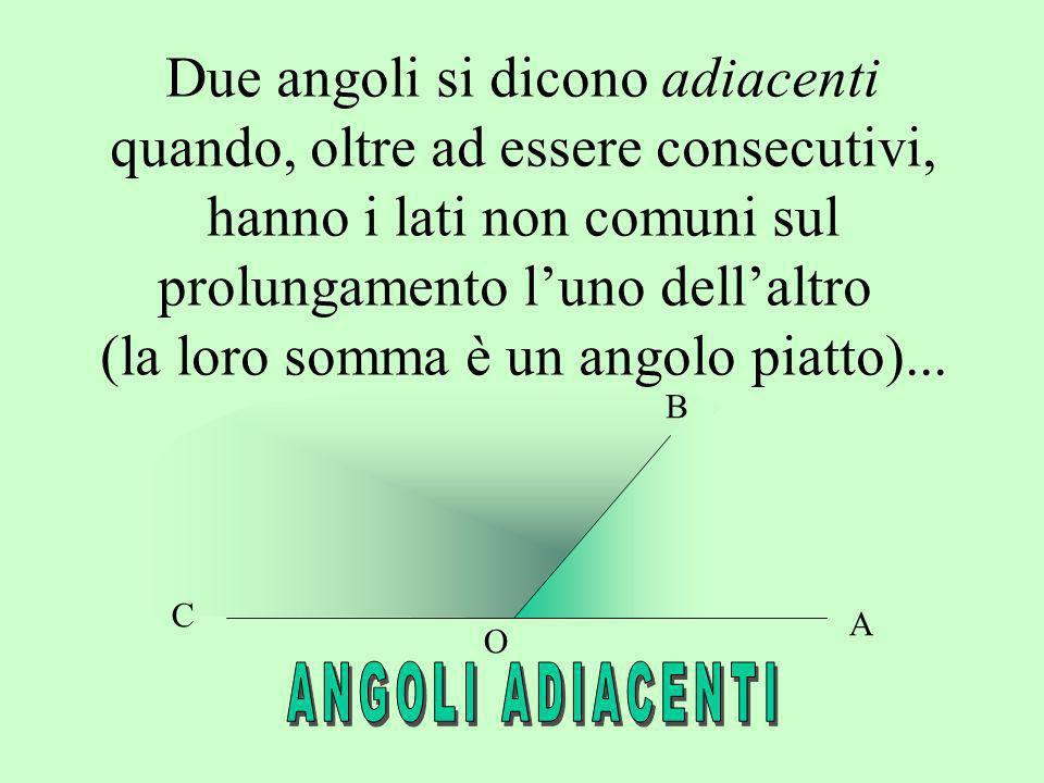Due angoli si dicono adiacenti quando, oltre ad essere consecutivi, hanno i lati non comuni sul prolungamento luno dellaltro (la loro somma è un angol