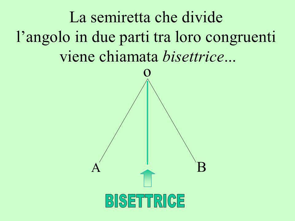 La semiretta che divide langolo in due parti tra loro congruenti viene chiamata bisettrice... o A B