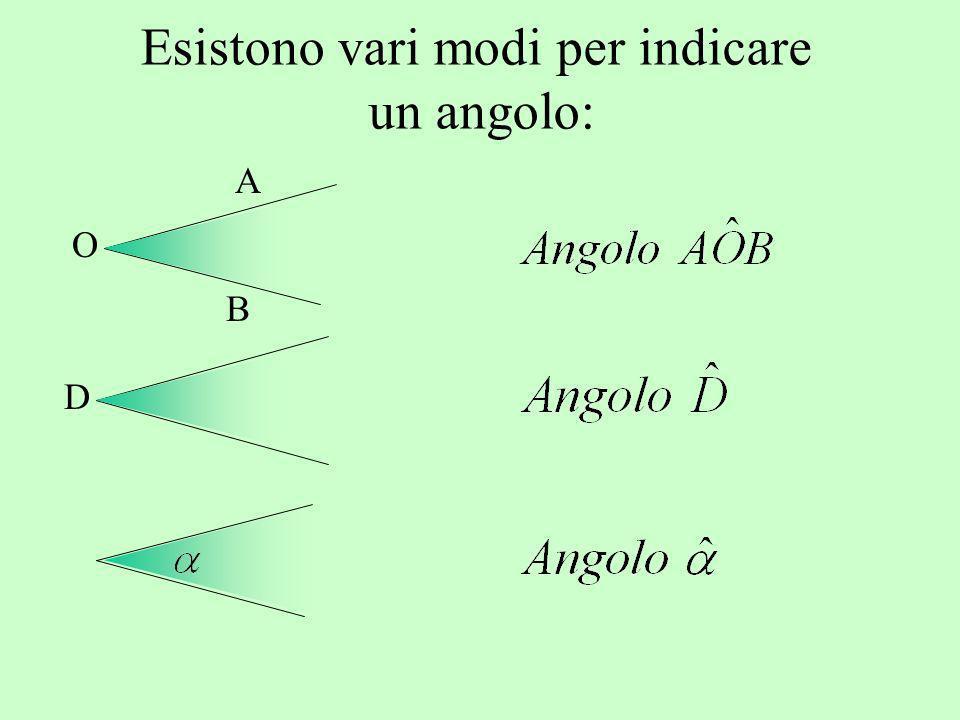 Esistono vari modi per indicare un angolo: A B O D