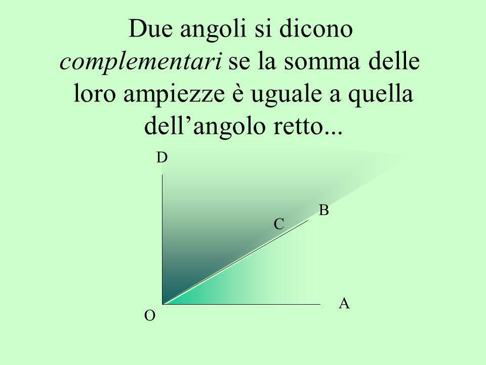 Due angoli si dicono complementari se la somma delle loro ampiezze è uguale a quella dellangolo retto... A B D O C