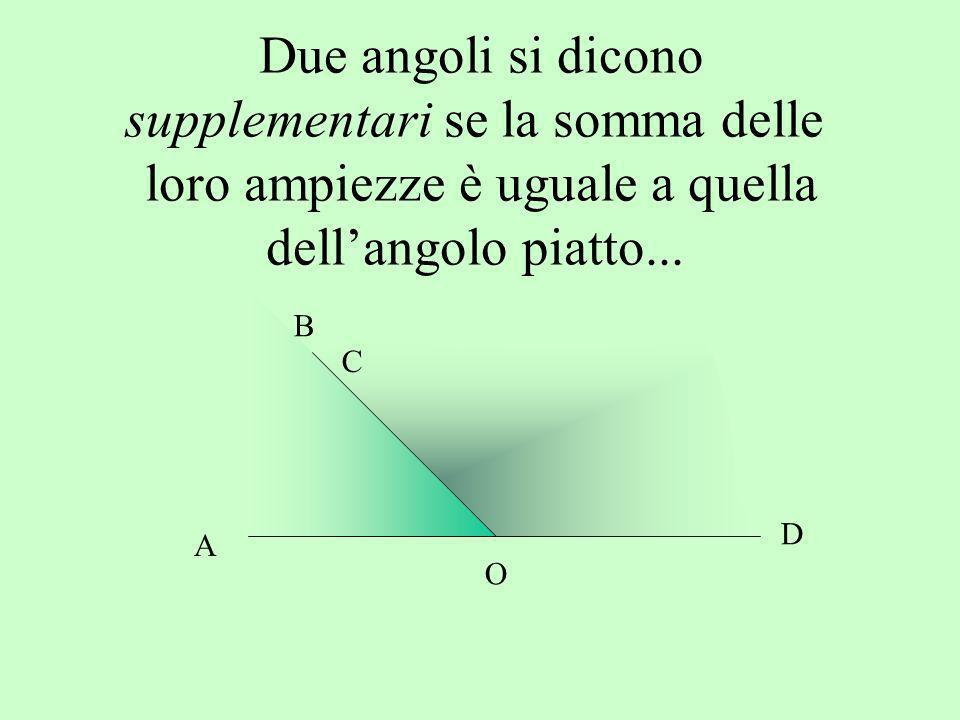 Due angoli si dicono supplementari se la somma delle loro ampiezze è uguale a quella dellangolo piatto... A B D O C
