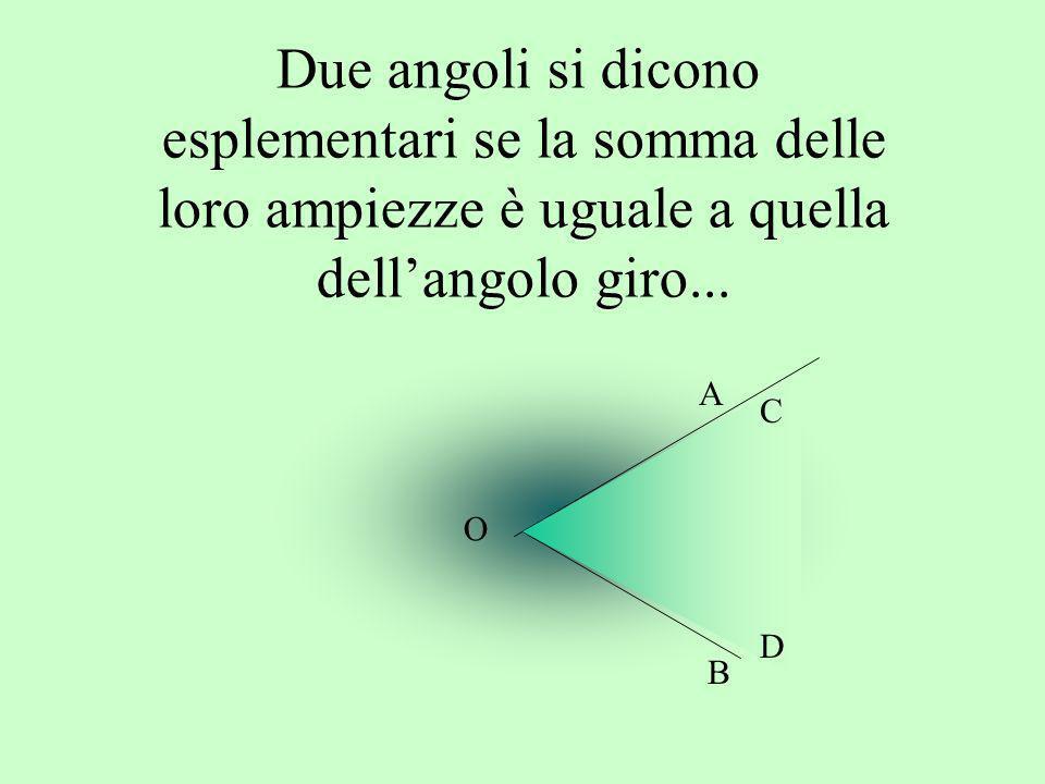 Due angoli si dicono esplementari se la somma delle loro ampiezze è uguale a quella dellangolo giro... C B O A D
