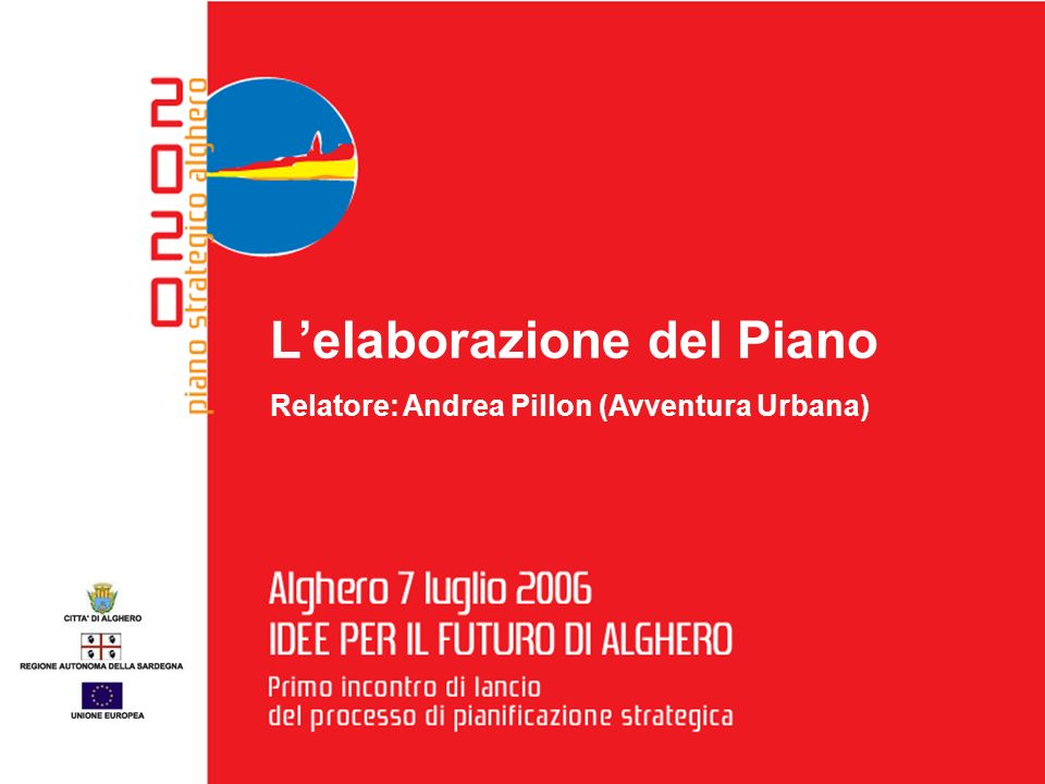 7 luglio 2006 I D E E P E R I L F U T U R O D I A L G H E R O A L G H E R O Primo incontro di lancio del processo di pianificazione strategica Lelaborazione del Piano Relatore: Andrea Pillon (Avventura Urbana)