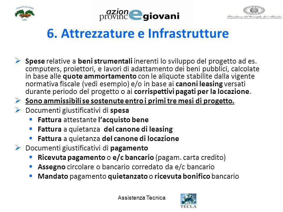 Assistenza Tecnica 6. Attrezzature e Infrastrutture Spese relative a beni strumentali inerenti lo sviluppo del progetto ad es. computers, proiettori,