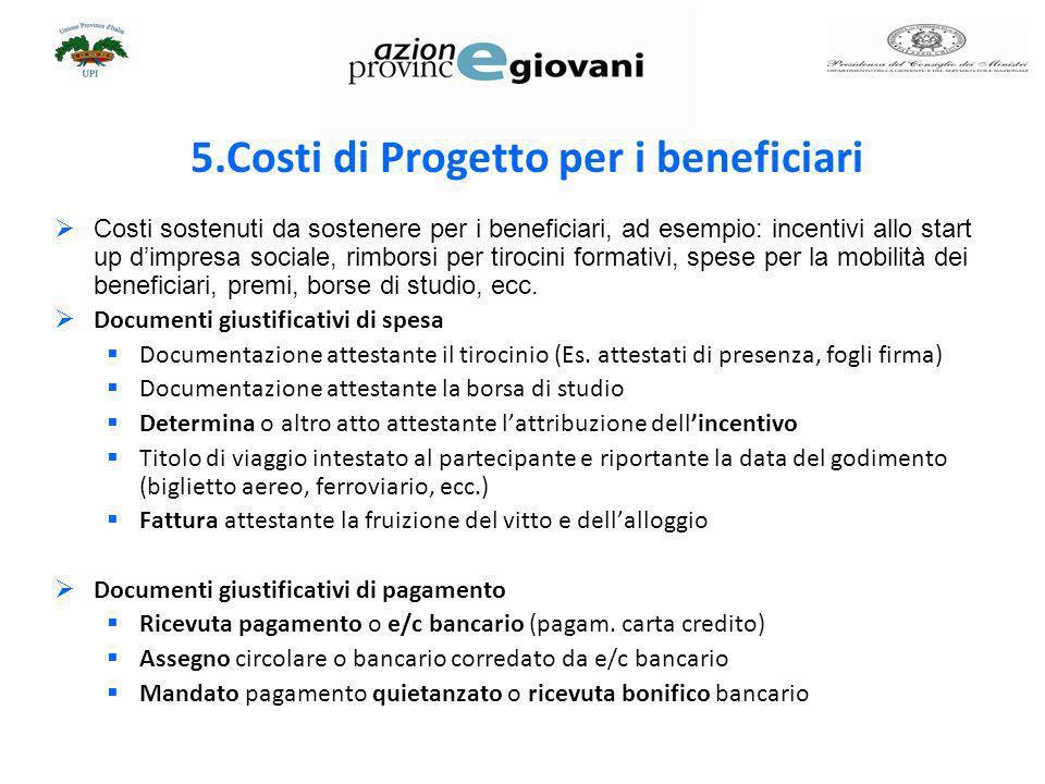 5.Costi di Progetto per i beneficiari Costi sostenuti da sostenere per i beneficiari, ad esempio: incentivi allo start up dimpresa sociale, rimborsi p