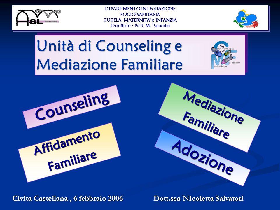 Counseling Adozione MediazioneFamiliare AffidamentoFamiliare Unità di Counseling e Mediazione Familiare Civita Castellana, 6 febbraio 2006 Dott.ssa Nicoletta Salvatori DIPARTIMENTO INTEGRAZIONE SOCIO-SANITARIA TUTELA MATERNITA e INFANZIA Direttore : Prof.